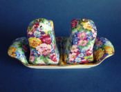 Rare Royal Winton 'Julia' Chintz Ascot Shape Cruet on Tray c1945